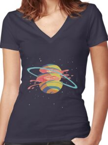 Space Fruit Women's Fitted V-Neck T-Shirt