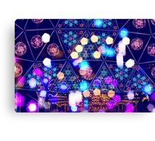 Colorful Psychedelic Bokeh Lights Shapes Amusement Park Tokyo Canvas Print
