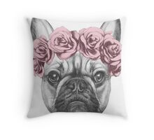 French bulldog with rose crown Throw Pillow