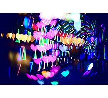 Couple In Colorful Light Tunnel Hearts Triangles Tokyo Photographic Print