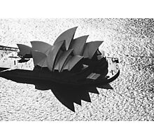 Monochrome Aerial Opera House Photographic Print