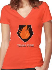 Team Fire Women's Fitted V-Neck T-Shirt
