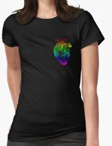 Rainbow Heart Womens Fitted T-Shirt