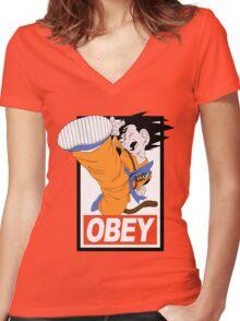 Kid Goku Women's Fitted V-Neck T-Shirt