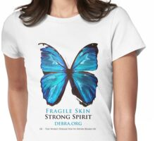 Beautiful Blue Butterfly Proceeds donated to DebRa.org Womens Fitted T-Shirt