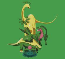 Pokesaurs - Grassiosaurs One Piece - Short Sleeve