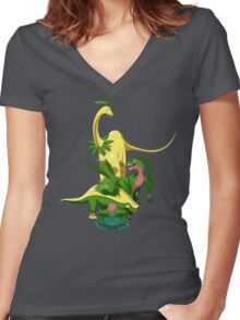 Pokesaurs - Grassiosaurs Women's Fitted V-Neck T-Shirt