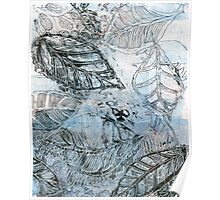 Leaves 16 Mixed Media - Ink on Acrylic Monotype Print Poster