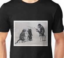 Three Cats and a Monkey Professor - Victorian Anthropomorphic Art Unisex T-Shirt