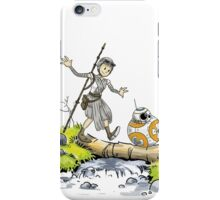 Star Wars The Force Awakens / Calvin and Hobbes- BB-8 and Rey iPhone Case/Skin