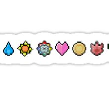 8bit Kanto gym badges Sticker