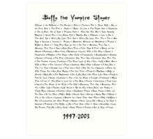 Buffy the Vampire Slayer: Episodes Art Print