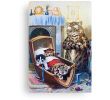 Louis Wain - Kittens Rocking The Crib Canvas Print