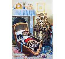 Louis Wain - Kittens Rocking The Crib Photographic Print