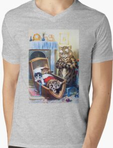 Louis Wain - Kittens Rocking The Crib Mens V-Neck T-Shirt