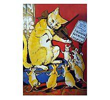 Cat Plays Violin for Dancing Rats - Victorian-era Anthropomorphic Art Photographic Print
