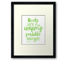 Green apple - Books are a uniquely portable magic Framed Print