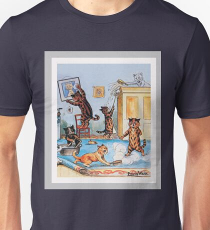 Funny Cats Cleaning Catastrophe by Louis Wain Unisex T-Shirt
