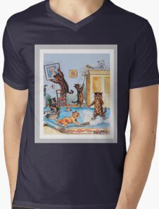 Funny Cats Cleaning Catastrophe by Louis Wain Mens V-Neck T-Shirt