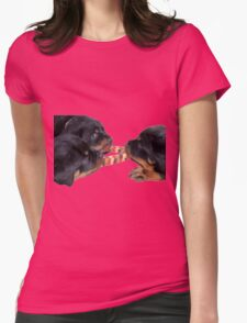 Loving and Sharing Rottweiler Puppies Womens Fitted T-Shirt