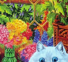White Cat Lounging in Study by Louis Wain Sticker