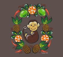 Monkey and fruit Womens Fitted T-Shirt