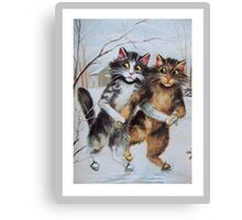 Ice Skating Cats by Maurice Boulanger Canvas Print