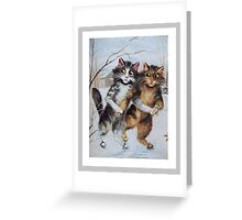 Ice Skating Cats by Maurice Boulanger Greeting Card