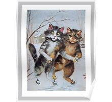 Ice Skating Cats by Maurice Boulanger Poster
