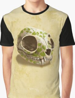 cat skull decorated with wasabi flowers Graphic T-Shirt