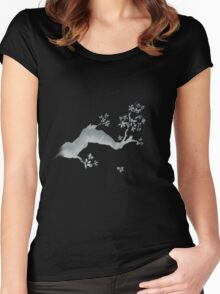 Cherry tree negative Women's Fitted Scoop T-Shirt