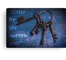 """Enter by the narrow gate"" - Blue keys Canvas Print"