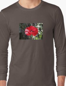 Vector Style Poppy With Natural Background  Long Sleeve T-Shirt