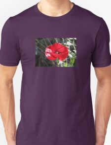 Vector Style Poppy With Natural Background  Unisex T-Shirt