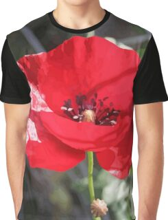 Vector Style Poppy With Natural Background  Graphic T-Shirt