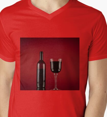 Wine red glass bottle Mens V-Neck T-Shirt