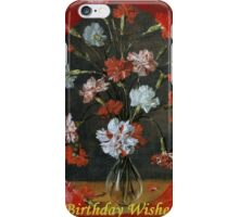 Birthday Wishes - Vintage Carnations In A Glass Vase iPhone Case/Skin