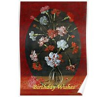 Birthday Wishes - Vintage Carnations In A Glass Vase Poster