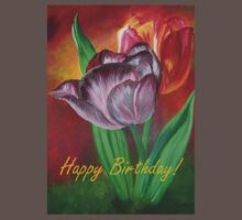 Two Tulips Happy Birthday Greeting Baby Tee