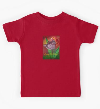 Two Tulips Happy Birthday Greeting Kids Tee