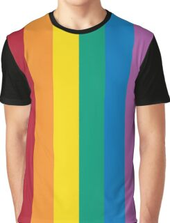 Rainbow Design with 6 Popular Colors of Red Orange Yellow Green Blue and Violet Graphic T-Shirt