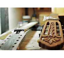 Guitar grips repairing shallow dof Photographic Print