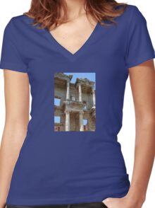 Ephesus, Celsus Library Women's Fitted V-Neck T-Shirt