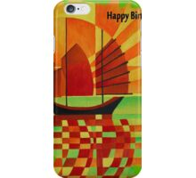 Happy Birthday Junk on Sea of Green Cubist Abstract  iPhone Case/Skin