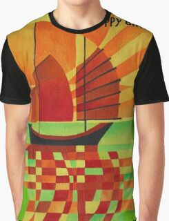 Happy Birthday Junk on Sea of Green Cubist Abstract  Graphic T-Shirt