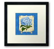 Earth Laughs In Flowers Blue Hydrangea Yellow Damask Framed Print