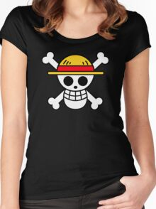 Luffy- Straw Hat Pirates Flag Women's Fitted Scoop T-Shirt
