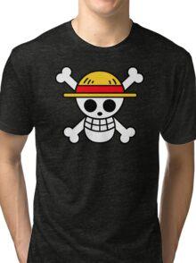 Luffy- Straw Hat Pirates Flag Tri-blend T-Shirt