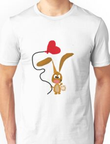 Funny Cool Bunny Rabbit with Red Heart Balloon Unisex T-Shirt