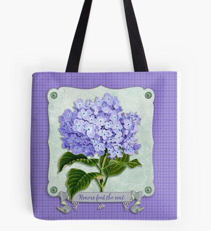 Purple Hydrangea Fancy Ribbon Fiber Paper Cutouts Tote Bag